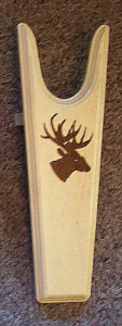 turdy Pine Boot Jack with a dark stained Deer Sillhouette on light background from Rawhide Gifts and Gallery