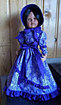 18 inch American Doll Dress, day dress of crisp blue, contrasting blue ties, ruffles, flounce and bonnet ties