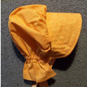 girls  sunbonnet -Pumpkin orange. Tiny White Print-Rawhide Gifts and Gallery
