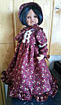 18 inch American Doll Dress burgundy rust dress with flounce, matching bonnet, white lace accents