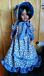 18 inch American Doll Dress, cornflower blue with white tiny flowers, blue ruffles and trim