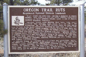 Oregon Trail Ruts Sign In Guernsey Wyoming