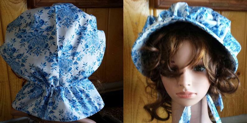 Sun bonnets for ladies, Garden prairie sunbonnet; rear and front view