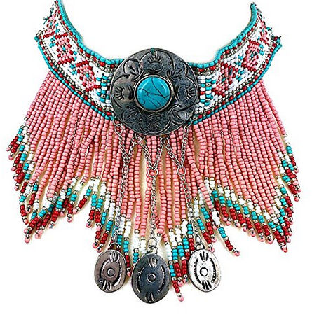 vintagelook-native-american-indeian-beaded-turquoise-pointed-pink-necklace