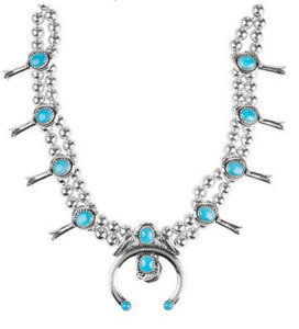 GenuineSterling Silver-and-Turquoise-Squash-Blossom-Necklace