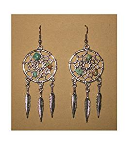 Silver-Tone-Dream-Catcher-Feather-Turquoise-Native -American-Southwestern-Earrings