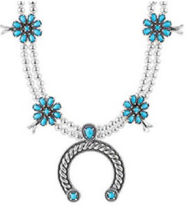Authentic Sterling Silver Squash Blossom Necklace-Native American Turquoise Sterling Silver Squash Blossom Necklaces