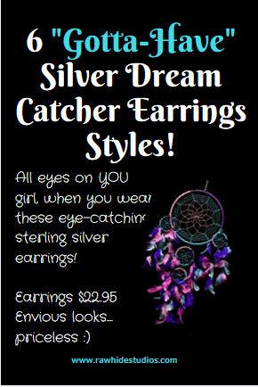Native American Silver Dream Catcher Earrings