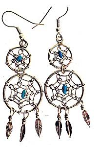 Lorenzo Arviso Native American Sterling Silver and Turquoise Dream Catcher Earrings