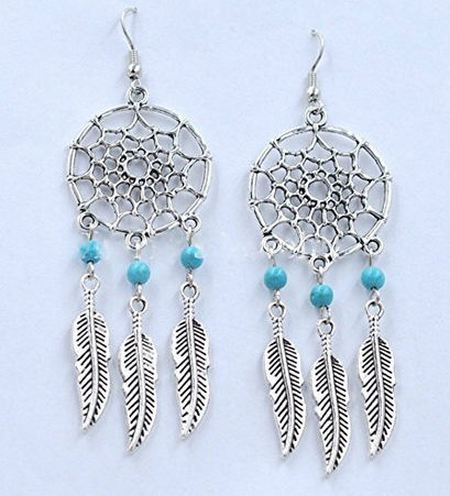 Silver and Turquoise Three Feather Dream Catcher Earrings