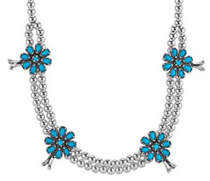 sterling silver sleeping beauty blossom necklace