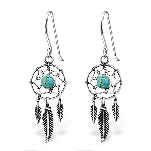 Tri Feather Dream Catcher Earrings in Sterling