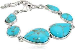 teardrop stone turquoise clasp and hook bracelet
