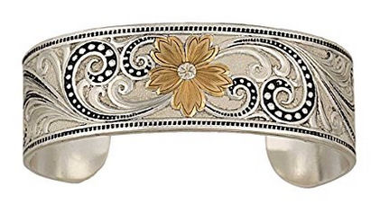 Montana Silversmith Jewelry Scroll and Floral Silver Bracelet