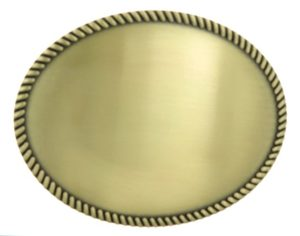 Oval shaped belt buckle with rope trim
