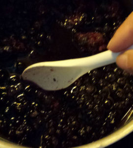 -mixing the blueberries for the kombucha