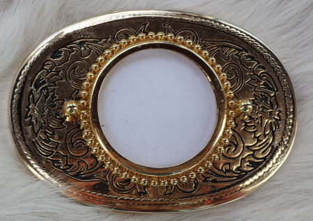 Gold Toned Belt Buckle Blank for Silver Dollars