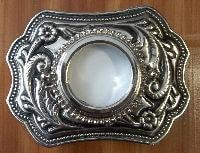 silver scrolled buckle blank
