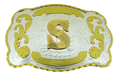 Letter Belt Buckles, gold tone on silver.