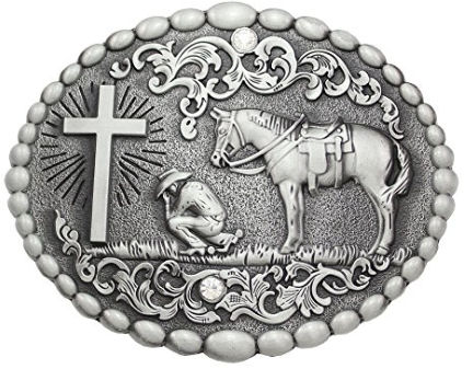 Lovely Carved Praying Cowboy Belt Buckle