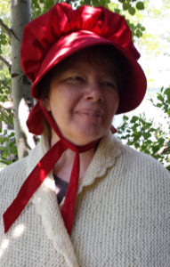 Sun Maid Raisin Red Bonnet modeled for Rawhide Gifts and Gallery