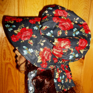 sun bonnets for Ladies Gardening, Easter and Out door sunbonnet; Striking! Carmine Rose clusters on Black-Rawhide Gifts and Gallery