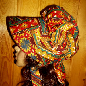sun Bonnets for ladies of beautiful sizzling  autumn colors in a southwest print from Rawhide Gifts and Gallery