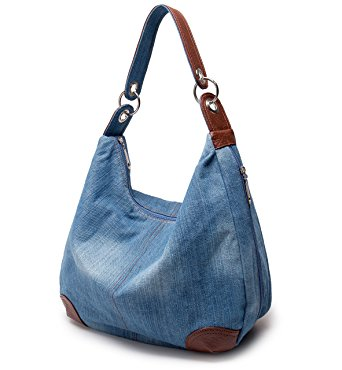 Denim bag with zippered top and leather handle