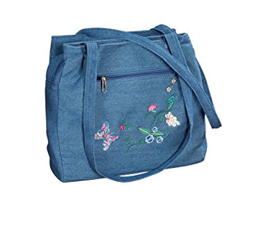 Denim bag, zippered top, zippered outside pocket, embroidered