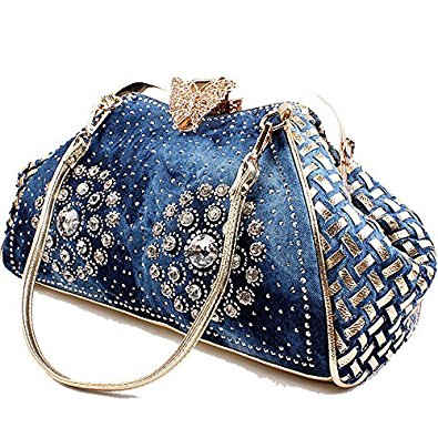 Denim Clutch Style bag with rhinestones