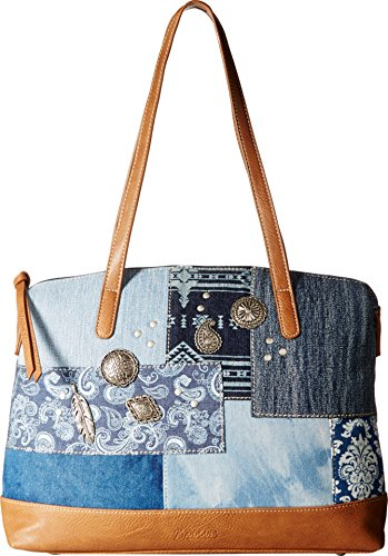 Denim and leather ladies bag