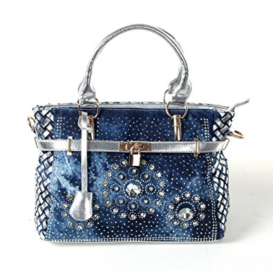 Dark Denim and Rhinestone clutch style purse