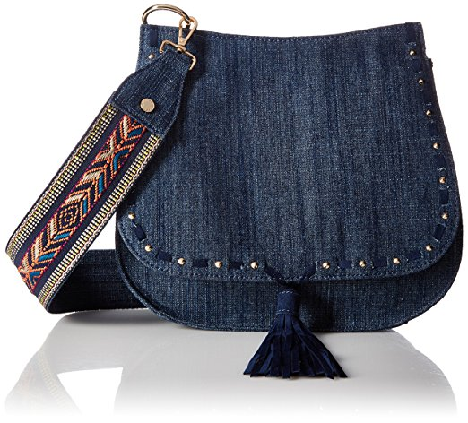 Denim-like pouchbag with flap closure and native american inspired design on the strap