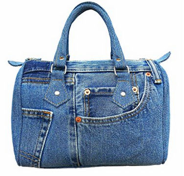 roomy doctor style top handle denim bag