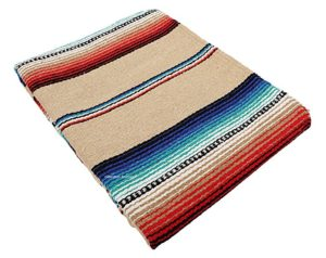 Mexican Serape Fiester Colored Blanket, hand woven