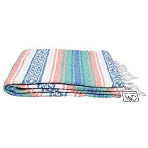 Pastel and turquoise blue  mexican blanket for picnics