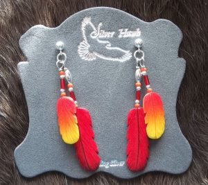 Western Tanager and red cardinal carved bone feather earrings