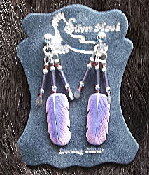 Silver Hawk Carved Bone Feather Lilac Breasted Roller Sterling Silver Earrings