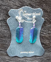 Violet Tailed Sylph Hummingbird Carved Bone Feather EArrings