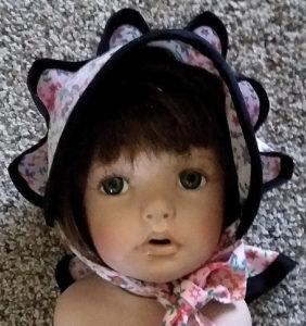 Baby's Snap or Button Bonnet with Neck Ruffle- Front View