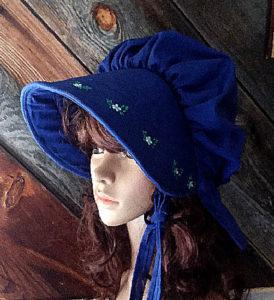 royal blue embroidered sun bonnet