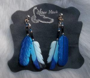 birds of prey bone feather earrings blue jay