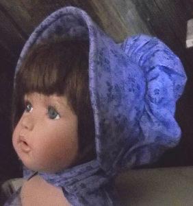 Violet and darker violet roses baby bonnet
