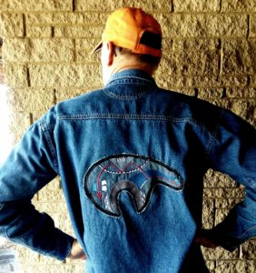 Zuni Denim Blue Jean Jacket Appliques,Zuni bear appliqué sewn on a jacket