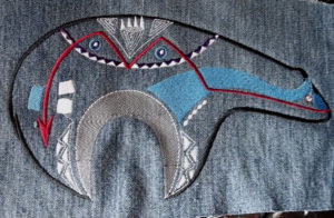Classic Traditional Colored Zuni Bear Denim Jacket Applique Patch