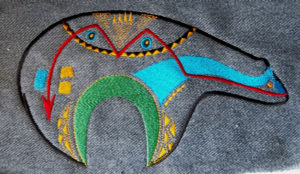 Zuni Bear Denim Jacket Applique Patch in bright colors
