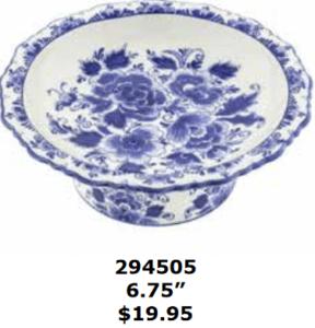 floral delft blue pedestal dessert plate