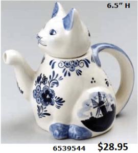floral delft bue cat teapot