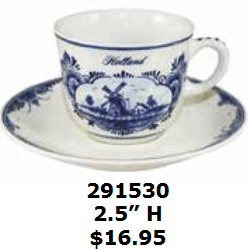 Windmill detailed coffee cup and saucer set