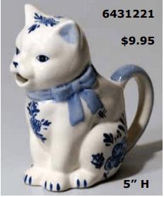 floral delft blue cat creamer